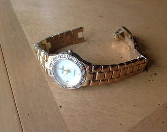 Vintage Peugeot Diamond Woman Watch Mother of Pearl Face