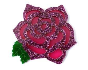 Acrylic magenta rose brooch, acrylic brooch, laser cut acrylic, rose jewellery, rose brooch,