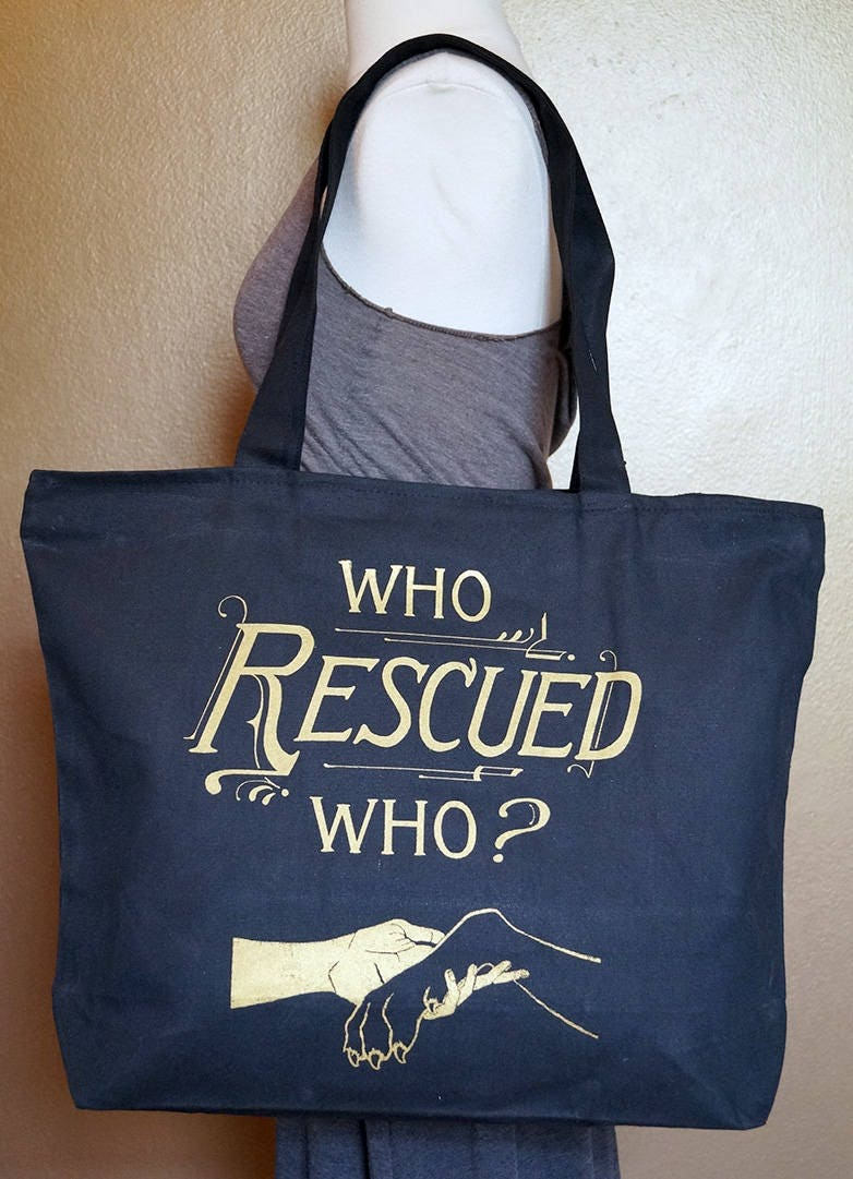 "Zippered Tote Bag ""Who Rescued Who?"" Gold Ink on Black Cotton"