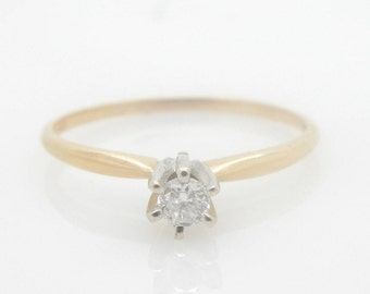 14K Yellow Gold 0.07ct G-SI2 Round Brilliant Diamond Solitaire Engagement Ring; sku 1555