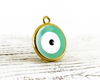 Turquoise Gold Tone Evil Eye Charm 29x25mm, Evil Eye Enamel Charm Pendant, 1 piece