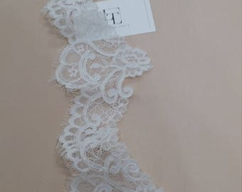 Ivory lace Trim, French Lace, Chantilly Lace Bridal Gown lace Wedding Lace White Lace Veil lace Scalloped lace Lingerie Lace EVSL061C_2