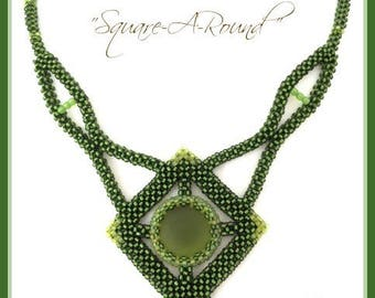 """Beading Kit : """"Square-a-Round"""" Necklace  in English Only Beads D.I.Y."""