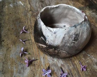 Small handmade ceramic bowl / rustic, pinched, pit fired