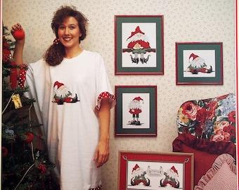 Santa's Elves By Cathy Livingston Vintage Cross Stitch Pattern Leaflet 1990
