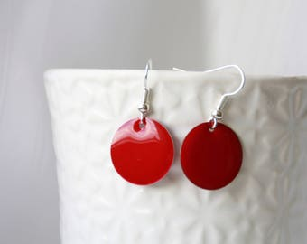 Earrings, earrings, red enamel, red enamel earrings, silver enamel earrings, dangle earrings, red enamel