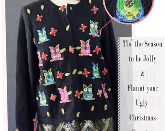 Ugly Christmas Sweater, Ugly Christmas Cardigan, Ugly Christmas Jumper, Novelty Owl Sweater, Embellished Christmas Sweater, Women's Size Med