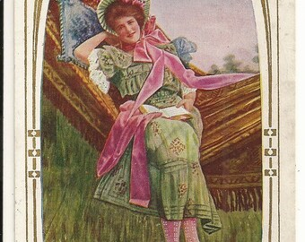 """Early 1900s Divided Back DB Postcard: Beautiful Young Lady Reading on Hammock, """"Thinking of You"""", Romance, Pinup, Pin-up - Free Shipping"""