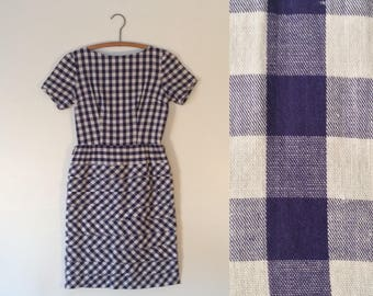 Vintage 50s Gingham Day Dress // Blue + White Plaid Cotton Wiggle Dress