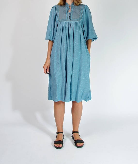 70s Nauvkraft bohemian aqua blue dress made in India / size M/L