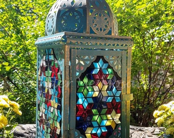 Stained Glass Mosaic Lantern - Geometric Star Puzzle
