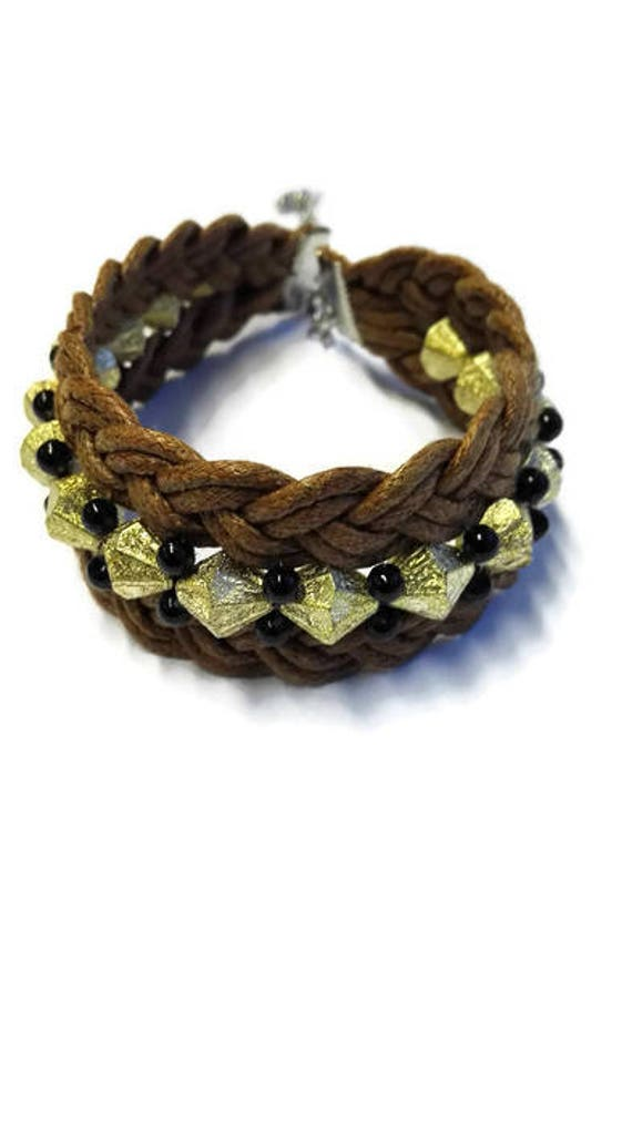 Plaited wax cotton cord bracelet for woman with beads