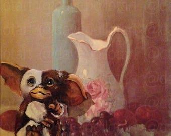 Gremlins Mogwai Gizmo Parody Painting, '11:59 PM' - Print, Poster or Canvas - Funny Gremlins Gift, Cute Gizmo Print Parody Artwork Art