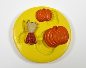 1683 Pumpkin and Maize Corn Fall Thanksgiving Autumn Harvest Food Safe Silicone Rubber Mold Mould fondant, cream cheese mint, clay, resin