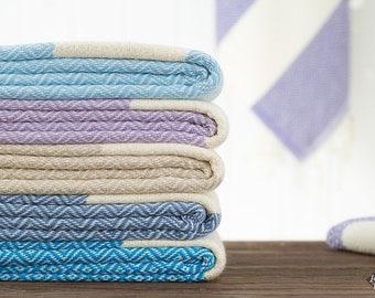 Diamond Towel, Bath Towel, Beach Towel, Turkish Towel, Peshtemal, Hammam Towel, Sky Blue, Lavender, Beige, Denim, Blue, Purple