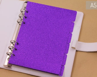 Luxury planner accessories, 6 dividers purple glitter, A5 planner kit dividers, Louis Vuitton planner