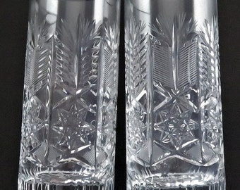 Two Vintage Glasses Bohemia Cut Crystal Glass