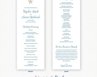 Printed Starfish Wedding Programs, Beach, Nautical Wedding, Starfish Wedding Programs, Ceremony Programs, Destination Wedding Programs