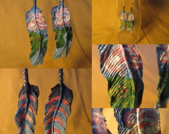 Wooden Feather Earrings: Snow Hawk