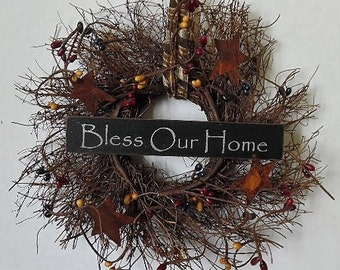 "Primitive Wreath, Angel Vine, Bless Our Home, Primitive Sign, Stars, Pip Berries, Homespun, 8"" Round Wreath, Handmade, Made in the USA"