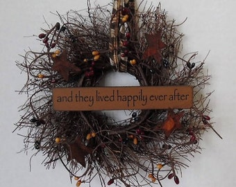 "Primitive Wreath, Angel Vine, ""And They Lived Happily Ever After"", 8"" Wreath, Primitive Sign, Stars, Pips, Homespun, Handmade, Made in USA"
