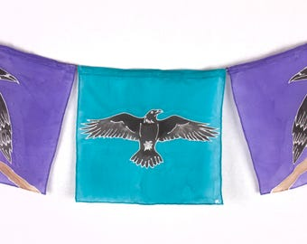 """Handpainted Silk Raven """"Prayer"""" Flags in Purple and Turquoise"""