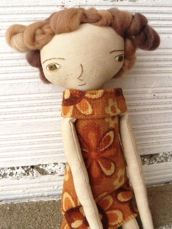 Art doll. Merino wool hair. Hand embroidered. 35 cm