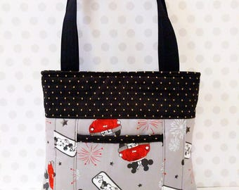 Mickey and Minnie Shoulder Bag /Small  Purse / Magnetic Snap Closure / Vintage Fireworks of Love