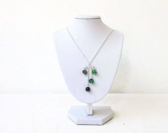 Green chandelier necklace, green and grey Handmade in the UK