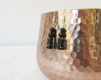 Black glass beaded earrings, beaded dangle earrings, sterling silver, black gothic style earrings, chunky earrings, handmade in the UK