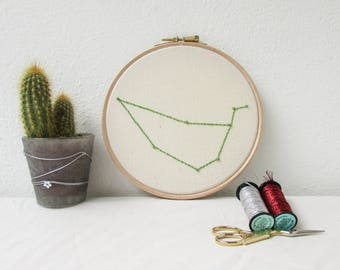 Capricorn star sign gift, Hand embroidery hoop art, January birthday gift, sparkly wall hanging, modern embroidery, handmade in the UK