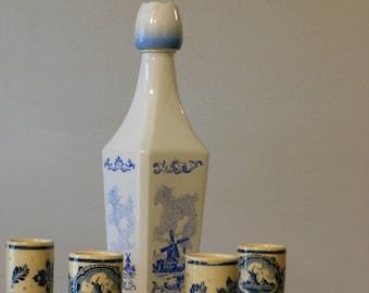 Vintage Vandermint Liqueur Bottle and Shot Glasses