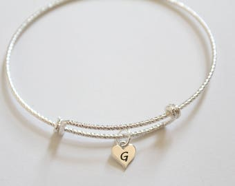 Sterling Silver Bracelet with Sterling Silver G Letter Heart Charm, Silver Tiny Stamped G Initial Heart Charm Bracelet, G Charm Bracelet