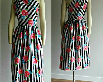 One Shoulder Dress, Striped Dress, Floral Dress, Mixed Print Dress, Summer Dress, Cotton Dress in Stripes and Floral