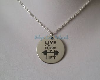 Live Love Lift Engraved Stainless Steel Disc Necklace with Barbell Weights on Silver Crossed Chain or Black Faux Suede Cord