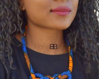 Collier wax, collier en tissu wax, collier ethnique, african fabric necklace for women, ankara necklace, blue necklace, textile necklace