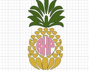 Pineapple vinyl monogram or greek letters