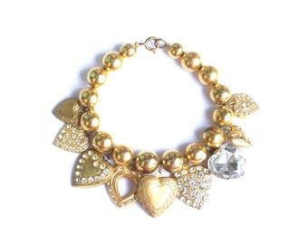 Vintage heart charm bracelet, vintage charm bracelet, gold tone vintage bracelet, heart locket bracelet, vintage costume jewelry, 7.25 inch