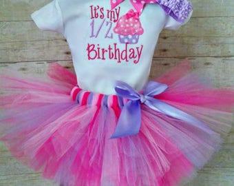 Half Birthday Cupcake Tutu Outfit, 1/2 Birthday Tutu