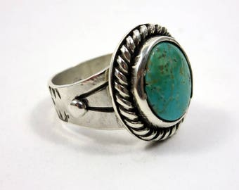 Turquoise and Sterling Silver Ring, size 8.25 - 8.5, Compass mine Blue Turquoise, boho ring, Southwestern style ring