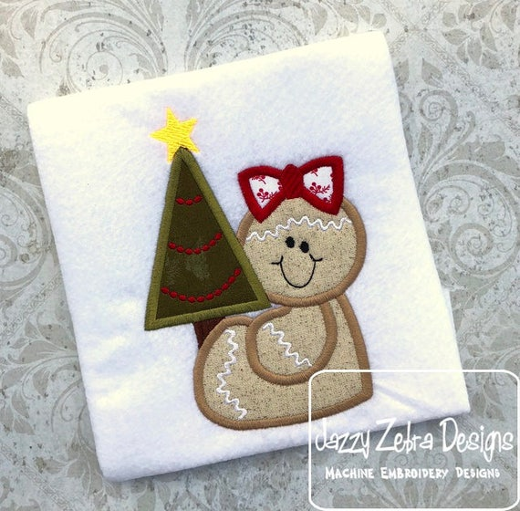 Gingerbread girl with tree appliqué embroidery design - gingerbread appliqué design - girl appliqué design - Christmas appliqué design