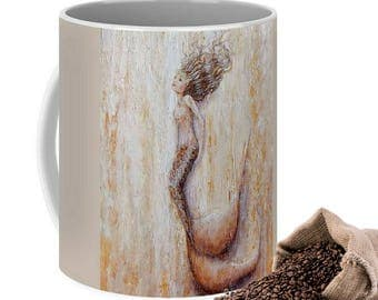 Cream mermaid art mug, beautiful art mermaid coffee mug, unique mermaid cup, original painting by Nancy Quiaoit