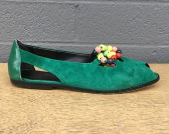 Size 7 Green Suede Flats Giorgio Pacini Emerald Colorful Beads Beaded Open Toe Flat Slip On's Made in Italy