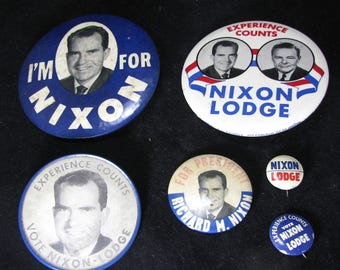 Richard M. Nixon & Lodge, 1960 Presidential Campaign Buttons, Vintage Lot 6