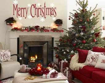 Merry Christmas Decal with Snowflakes Vinyl Wall Decal
