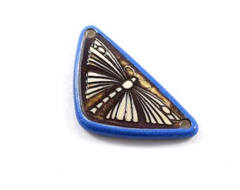 Blue and Brown Ceramic Porcelain Dragonfly Pendant, Blue Pendant, Triangle Pendant, Blue and Brown Pendant, Dragonfly Pendant