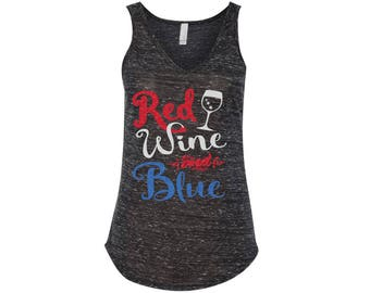 Red, Wine And Blue Glitter Tee, Tank, Shirt - Many Styles to Choose From - Sizes for infants to adults