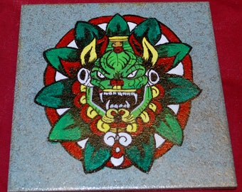 Quetzalcoatl Feathered Serpent Mesoamerican Hand Painted Decorative Tile