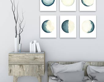 Moon Phases 6 Different Prints, Turquoise Teal Cream Watercolor Painting, Phase Full Moon Print, Waxing Crescent, Half, Gibbous, New Moon