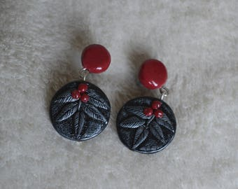 Earrings: studs, Stud / red and black, silver - fimo/polymer clay